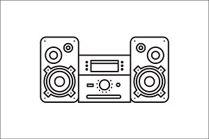 Sound System icon MusicCenter Vector
