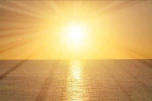 Rays of the sun at sunrise