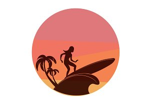 silhouette of surfing young woman with colorful sunset on background