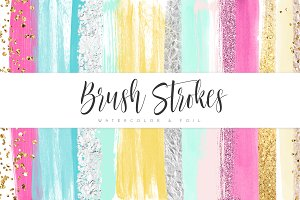 Watercolor & Foil Brush Strokes