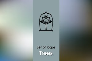 Set of logos trees