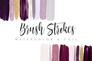 Watercolor Brush Strokes Burgundy