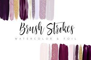 Watercolor Brush Strokes Burgundy