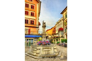Medieval fountain in the old town of Lucerne, Switzerland
