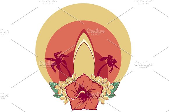 Surfboard In Hawaiian Flowers Bouquet Hibiscus And Plumeria And Palms