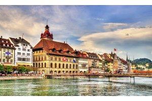 City hall of Lucerne along the river Reuss, Switzerland