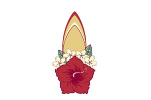 Surfboard in hawaiian flowers bouquet hibiscus and plumeria