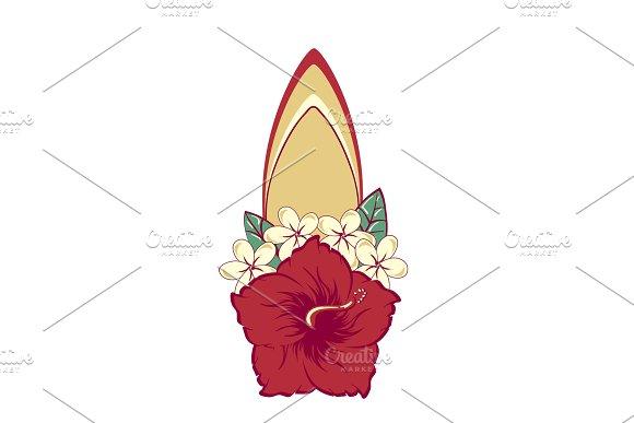 Surfboard In Hawaiian Flowers Bouquet Hibiscus And Plumeria