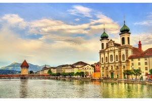 Jesuit Church along the river Reuss in the old town of Lucerne - Switzerland