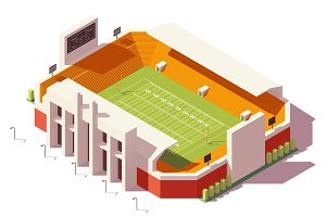 Vector isometric low poly football stadium