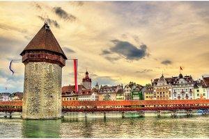 Chapel Bridge and Water Tower in Luzern, Switzerland
