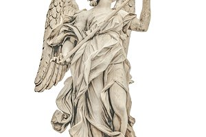 Angel with Spear Sculpture Isolated Photo