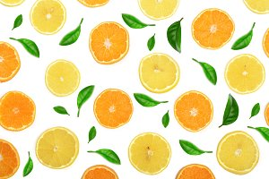 Slices of orange or tangerine and lemon with mint leaves isolated on white background. Flat lay, top view