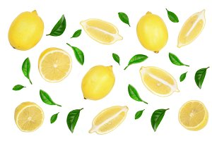 lemon with leaves and slices isolated on white background. Flat lay, top view