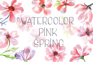 Watercolor Pink Spring Flowers