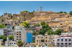 Cityscape of Amman with the Citadel, Jordan