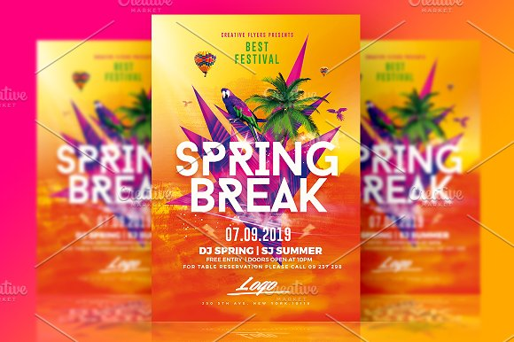 Spring Break Flyer Psd