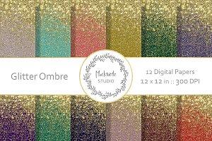 Glitter Ombre digital paper