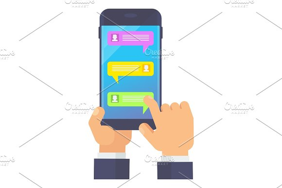 Hand Holding Smartphone With Messenger