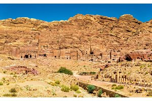 View of the Royal Tombs at Petra, UNESCO world heritage site