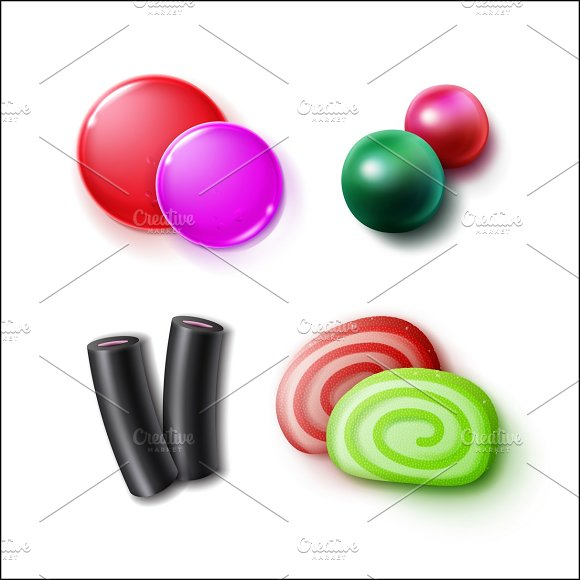 Set of different candies