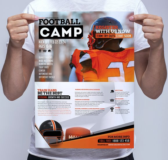 football camp poster template flyer templates creative market