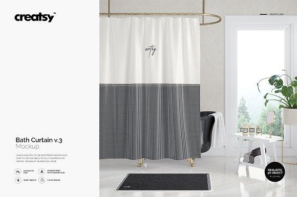 Download Bath Curtain Mockup 3
