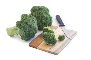 Fresh green broccoli on wooden