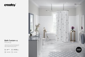 Luxury Bathroom Bath Curtain Mockup