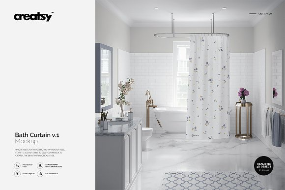 Free Luxury Bathroom Bath Curtain Mockup