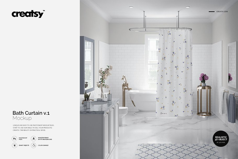Luxury Bathroom Bath Curtain Mockup Product Mockups Creative Market