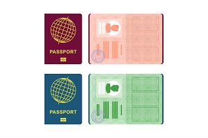 passport cover and spread