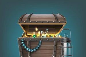 Vector wooden treasure chest