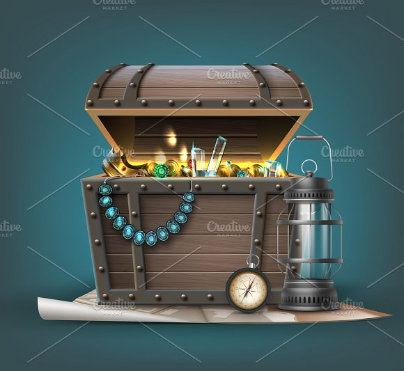 Vector Wooden Treasure Chest