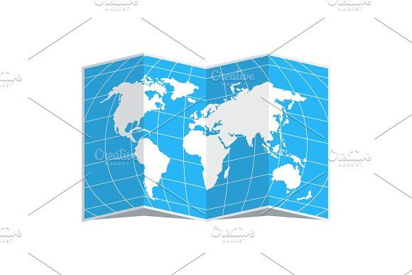 World Map Blue In Spread