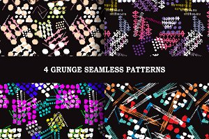 4 Grunge Seamless Patterns