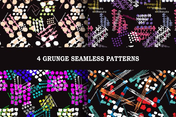 4 Grunge Seamless Patterns