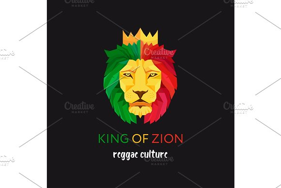Lion Head With Crown King Of Zion Symbol Of The Rastafarian Subculture Flag Colors Of Jamaica