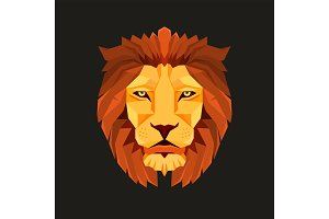 Lion head. Low poly design. Creative logo elements.