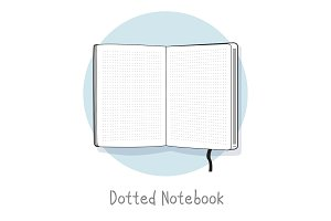 Dotted notebook illustration. Hand drawn style. Open sketchbook. Line design.