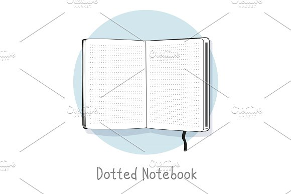 Dotted Notebook Illustration Hand Drawn Style Open Sketchbook Line Design