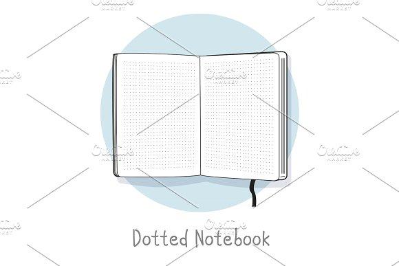 Dotted Notebook Illustration Hand Drawn Style Open Sketchbook Line Design
