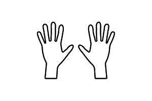 Hands line icon vector black