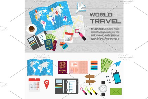 World Travel Card On Table Poster