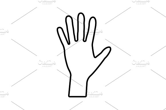 Hand Line Icon Vector Black On White
