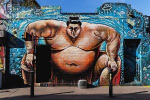 Street art sumo wrestler London