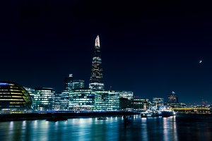 Modern London skyline at night