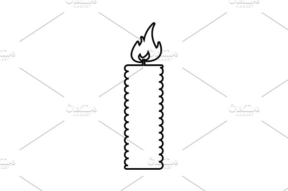 Candle Line Icon Vector Black