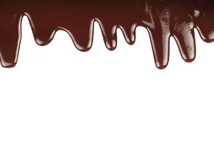 Melted chocolate dripping isolated on white background
