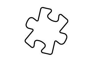 Simple puzzle line icon black